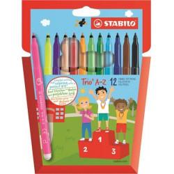 Stabilo TRIO A-Z háromszögletű, 0.7mm filctoll 12db, színes 5000Ft alatt Tollak és ceruzák Stabilo