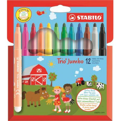 Stabilo TRIO Jumbo háromszögletű, 3mm filctoll 12db, színes