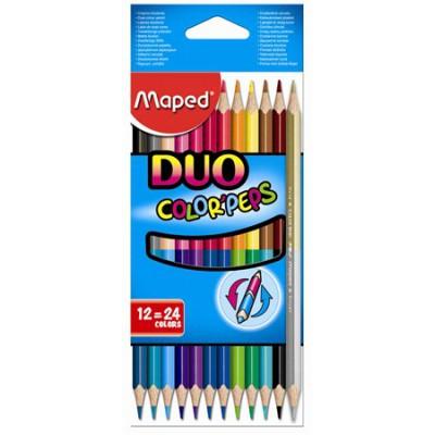 Maped COLOR PEPS Duo kétvégű, háromszögletű színes ceruza 12db, 24 színnel
