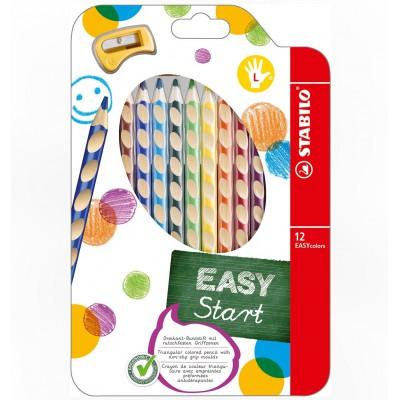 Stabilo EASYcolors színes ceruza 12db, balkezes, hegyezővel