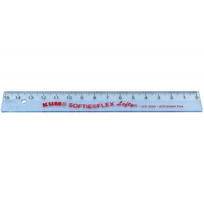 Kum áttetsző víztiszta hajlékony vonalzó 15cm, balkezes